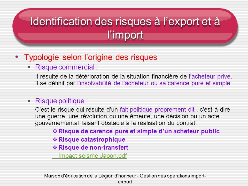 Maison d éducation de la Légion d honneur - Gestion des opérations import- export Identification des risques à l'export et à l'import Typologie selon l'origine des risques  Risque commercial : Il résulte de la détérioration de la situation financière de l'acheteur privé.