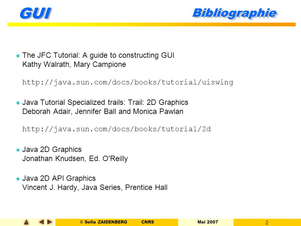 © Sofia ZAIDENBERG CNRS Mai 2007 2 GUI Bibliographie The JFC Tutorial: A guide to constructing GUI Kathy Walrath, Mary Campione http://java.sun.com/do