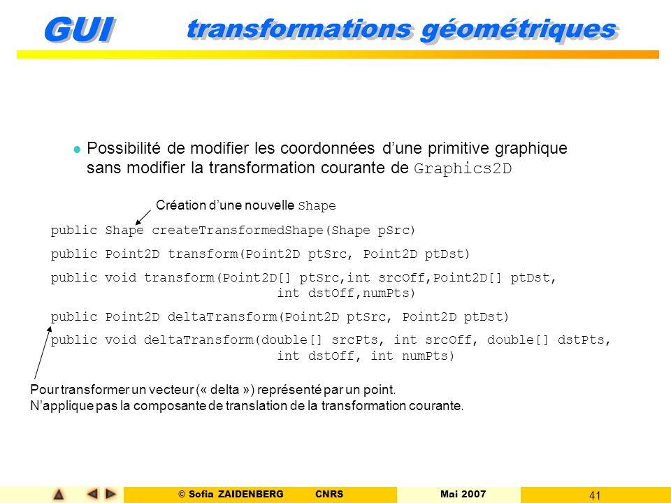© Sofia ZAIDENBERG CNRS Mai 2007 41 GUI transformations géométriques Possibilité de modifier les coordonnées d'une primitive graphique sans modifier l
