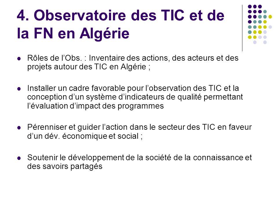 4.Observatoire des TIC et de la FN en Algérie Rôles de l'Obs.