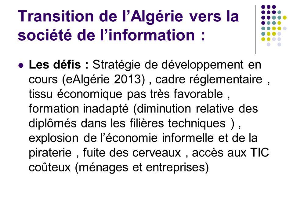 Transition de l'Algérie vers la société de l'information : Les défis : Stratégie de développement en cours (eAlgérie 2013), cadre réglementaire, tissu économique pas très favorable, formation inadapté (diminution relative des diplômés dans les filières techniques ), explosion de l'économie informelle et de la piraterie, fuite des cerveaux, accès aux TIC coûteux (ménages et entreprises)