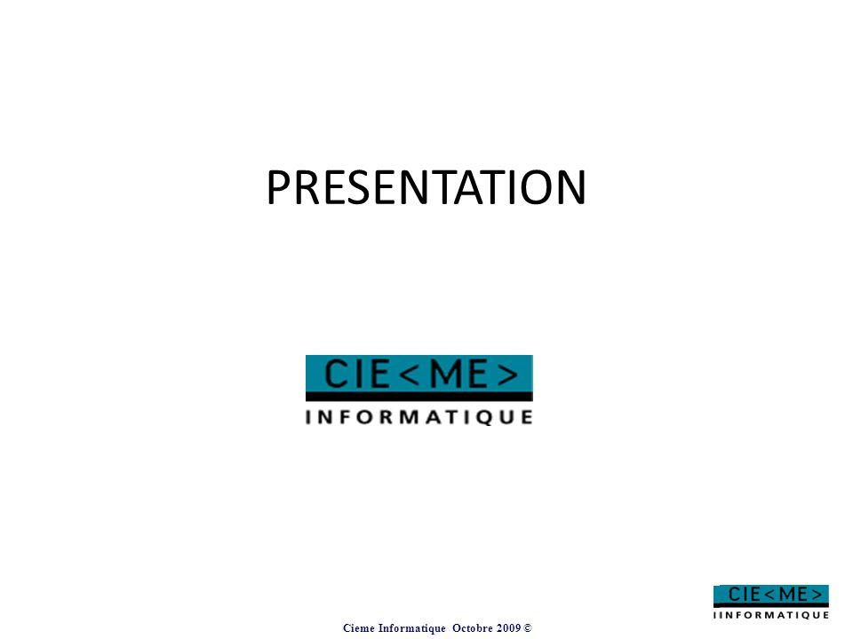 Cieme Informatique Octobre 2009 © ExpenServ Version 2.4 Vision consolidée de l'ensemble des coûts fixes et/ou mobiles sur une période Chaque entité ou gestionnaire n'aura accès uniquement aux informations le concernant