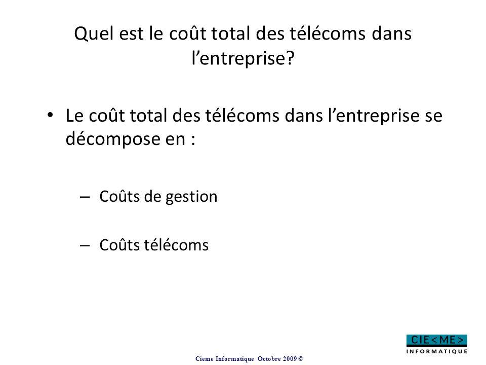 Cieme Informatique Octobre 2009 © Quel est le coût total des télécoms dans l'entreprise? Le coût total des télécoms dans l'entreprise se décompose en