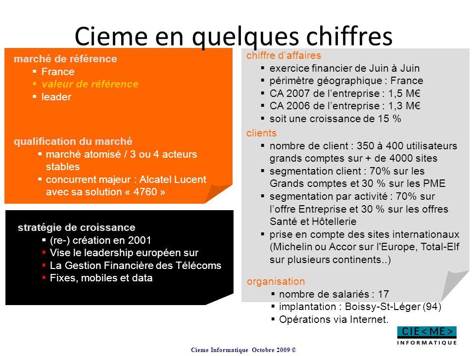 Cieme Informatique Octobre 2009 © Cieme en quelques chiffres marché de référence  France  valeur de référence  leader chiffre d'affaires  exercice