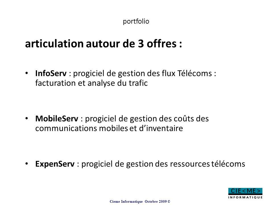 Cieme Informatique Octobre 2009 © portfolio articulation autour de 3 offres : InfoServ : progiciel de gestion des flux Télécoms : facturation et analy