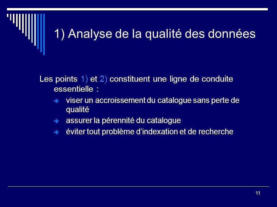 11 1) Analyse de la qualité des données Les points 1) et 2) constituent une ligne de conduite essentielle :  viser un accroissement du catalogue sans