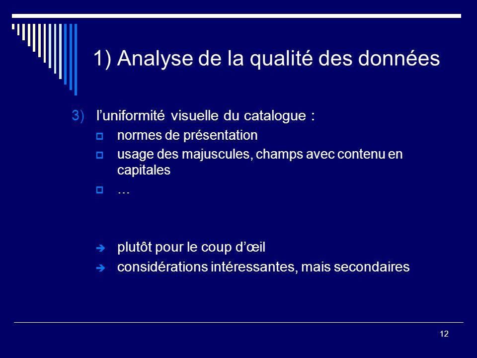 12 1) Analyse de la qualité des données 3)l'uniformité visuelle du catalogue :  normes de présentation  usage des majuscules, champs avec contenu en