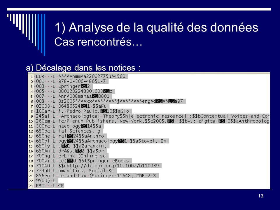 13 1) Analyse de la qualité des données Cas rencontrés… a) Décalage dans les notices :