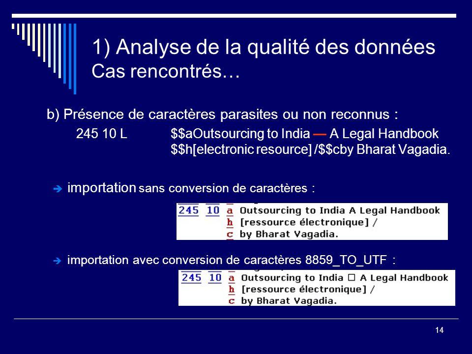 14 1) Analyse de la qualité des données Cas rencontrés… b) Présence de caractères parasites ou non reconnus : 245 10 L$$aOutsourcing to India — A Lega