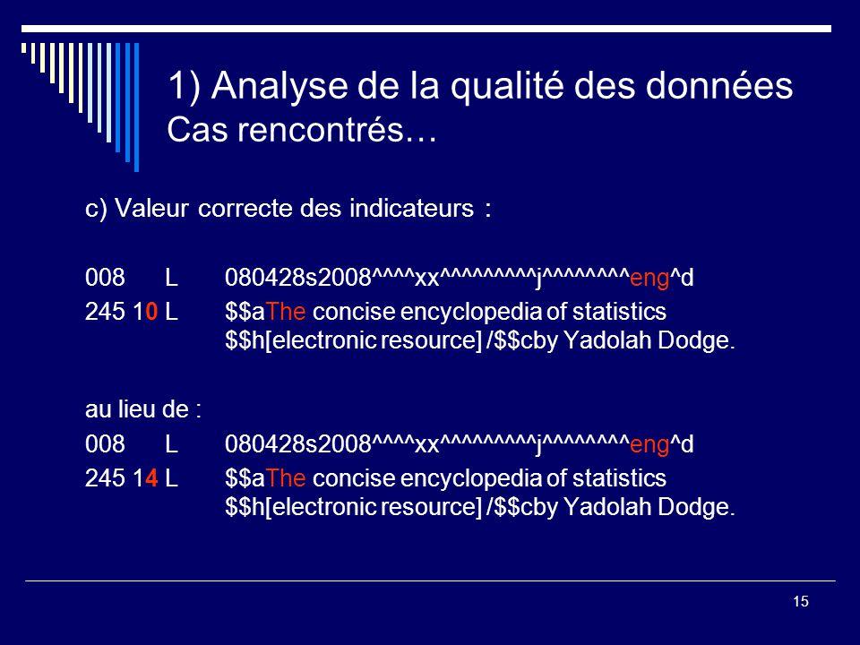 15 1) Analyse de la qualité des données Cas rencontrés… c) Valeur correcte des indicateurs : 008 L 080428s2008^^^^xx^^^^^^^^^j^^^^^^^^eng^d 245 10 L$$