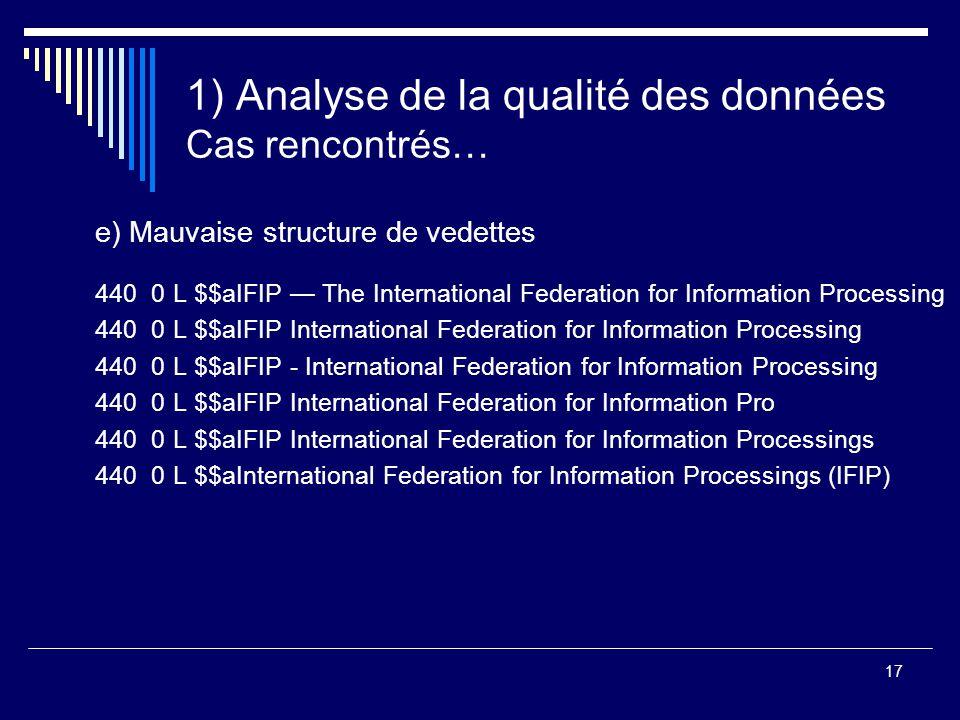 17 1) Analyse de la qualité des données Cas rencontrés… e) Mauvaise structure de vedettes 440 0 L $$aIFIP — The International Federation for Informati