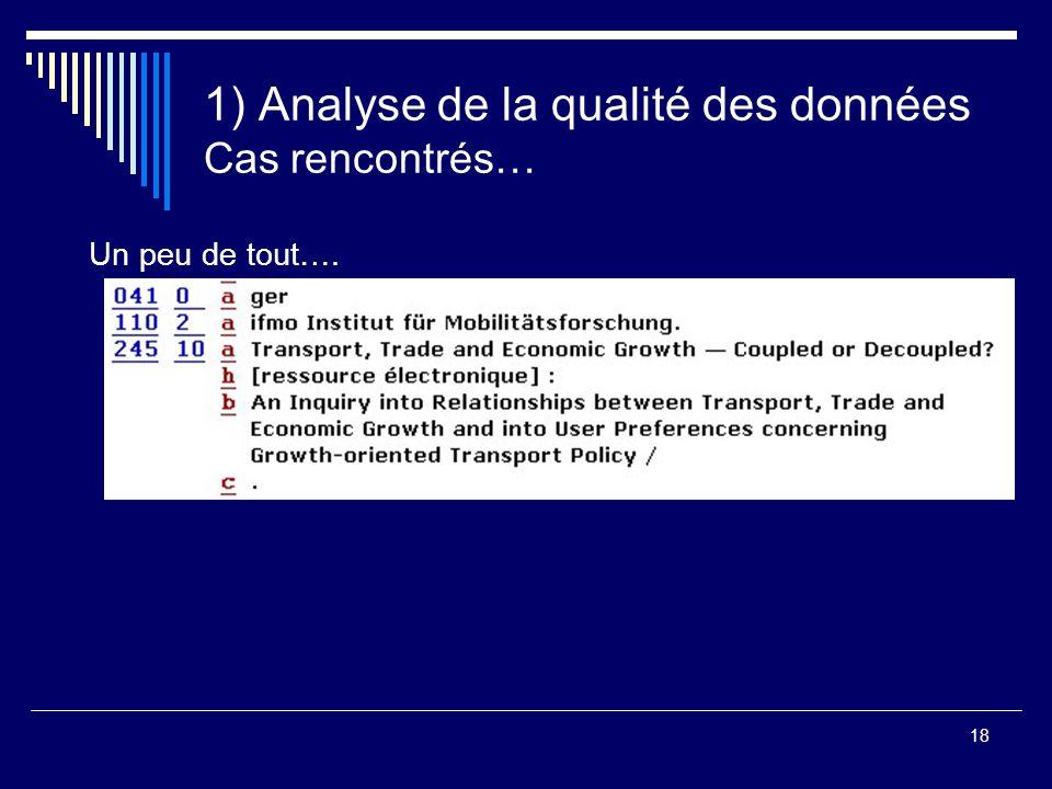 18 1) Analyse de la qualité des données Cas rencontrés… Un peu de tout….