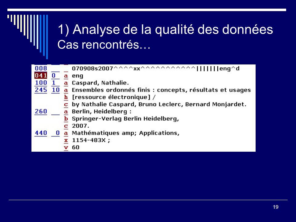 19 1) Analyse de la qualité des données Cas rencontrés…