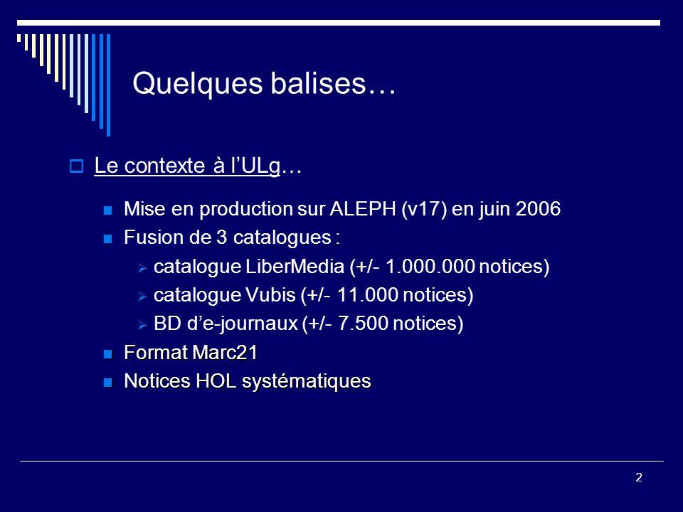 2 Quelques balises…  Le contexte à l'ULg… Mise en production sur ALEPH (v17) en juin 2006 Fusion de 3 catalogues :  catalogue LiberMedia (+/- 1.000.