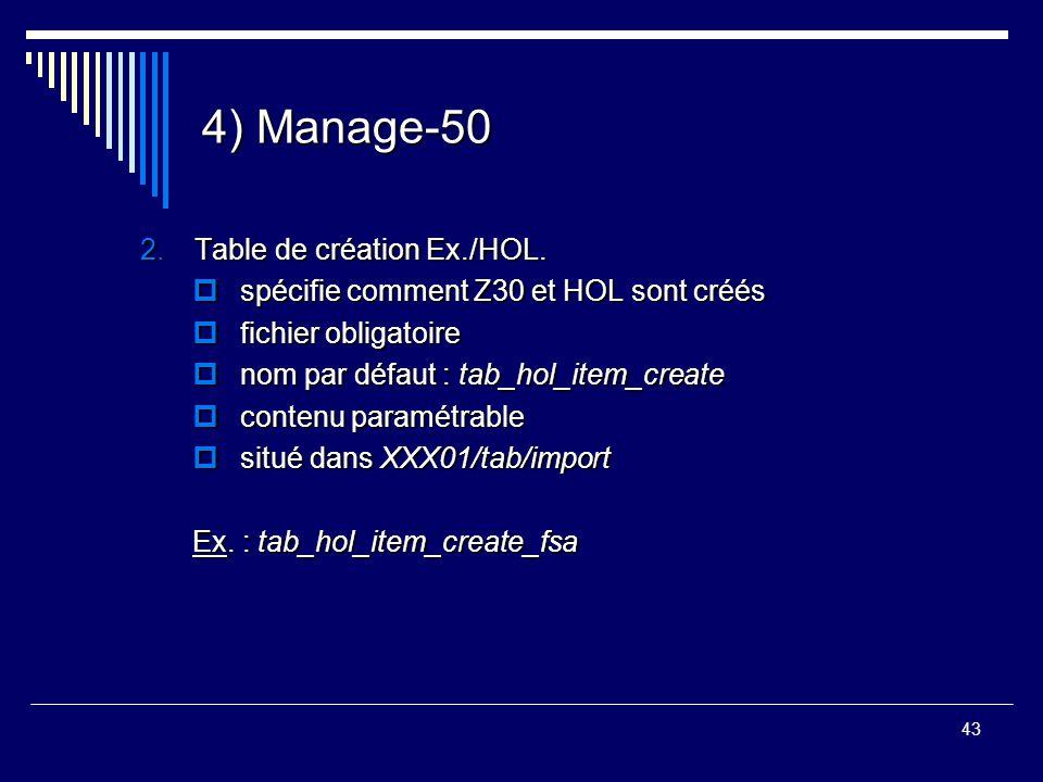 43 4) Manage-50 2.Table de création Ex./HOL.  spécifie comment Z30 et HOL sont créés  fichier obligatoire  nom par défaut : tab_hol_item_create  c