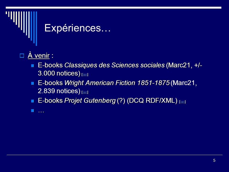 5 Expériences…  À venir : E-books Classiques des Sciences sociales (Marc21, +/- 3.000 notices) [lien] E-books Classiques des Sciences sociales (Marc2
