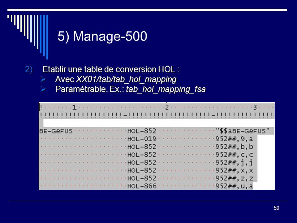 50 5) Manage-500 2)Etablir une table de conversion HOL :  Avec XX01/tab/tab_hol_mapping  Paramétrable. Ex.: tab_hol_mapping_fsa