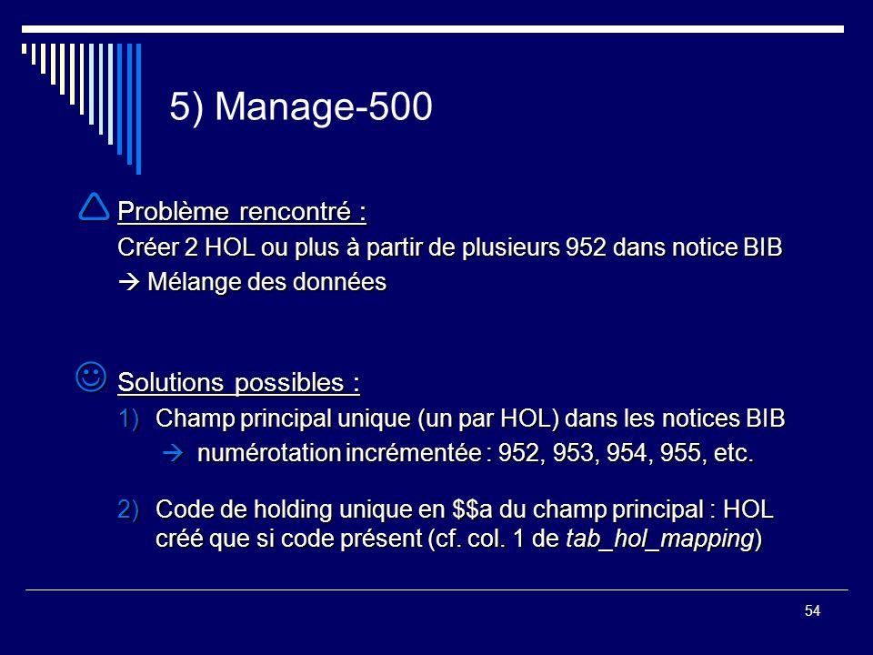 54 5) Manage-500  Problème rencontré : Créer 2 HOL ou plus à partir de plusieurs 952 dans notice BIB  Mélange des données Solutions possibles : Solu