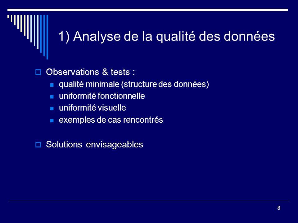 8 1) Analyse de la qualité des données  Observations & tests : qualité minimale (structure des données) uniformité fonctionnelle uniformité visuelle