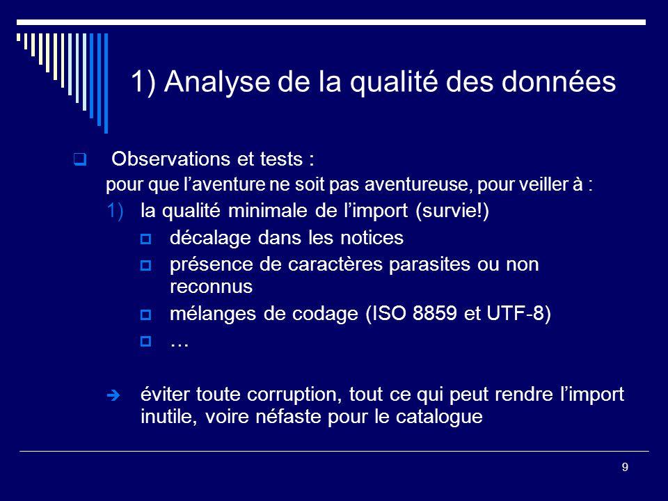 9 1) Analyse de la qualité des données  Observations et tests : pour que l'aventure ne soit pas aventureuse, pour veiller à : 1)la qualité minimale d