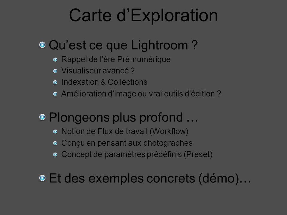 Carte d'Exploration Qu'est ce que Lightroom . Rappel de l'ère Pré-numérique Visualiseur avancé .