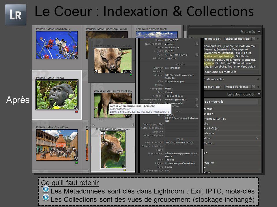 Le Coeur : Indexation & Collections Avant Après Ce qu'il faut retenir Les Métadonnées sont clés dans Lightroom : Exif, IPTC, mots-clés Les Collections sont des vues de groupement (stockage inchangé)