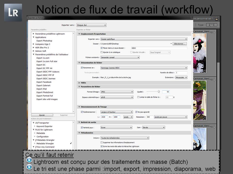 Notion de flux de travail (workflow) Ce qu'il faut retenir Lightroom est conçu pour des traitements en masse (Batch) Le tri est une phase parmi :import, export, impression, diaporama, web