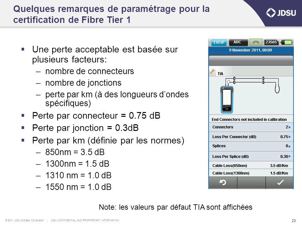 © 2011 JDS Uniphase Corporation | JDSU CONFIDENTIAL AND PROPRIETARY INFORMATION 23  Une perte acceptable est basée sur plusieurs facteurs: –nombre de connecteurs –nombre de jonctions –perte par km (à des longueurs d'ondes spécifiques)  Perte par connecteur = 0.75 dB  Perte par jonction = 0.3dB  Perte par km (définie par les normes) –850nm = 3.5 dB –1300nm = 1.5 dB –1310 nm = 1.0 dB –1550 nm = 1.0 dB Quelques remarques de paramétrage pour la certification de Fibre Tier 1 Note: les valeurs par défaut TIA sont affichées