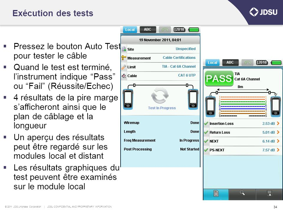 © 2011 JDS Uniphase Corporation | JDSU CONFIDENTIAL AND PROPRIETARY INFORMATION 34  Pressez le bouton Auto Test pour tester le câble  Quand le test