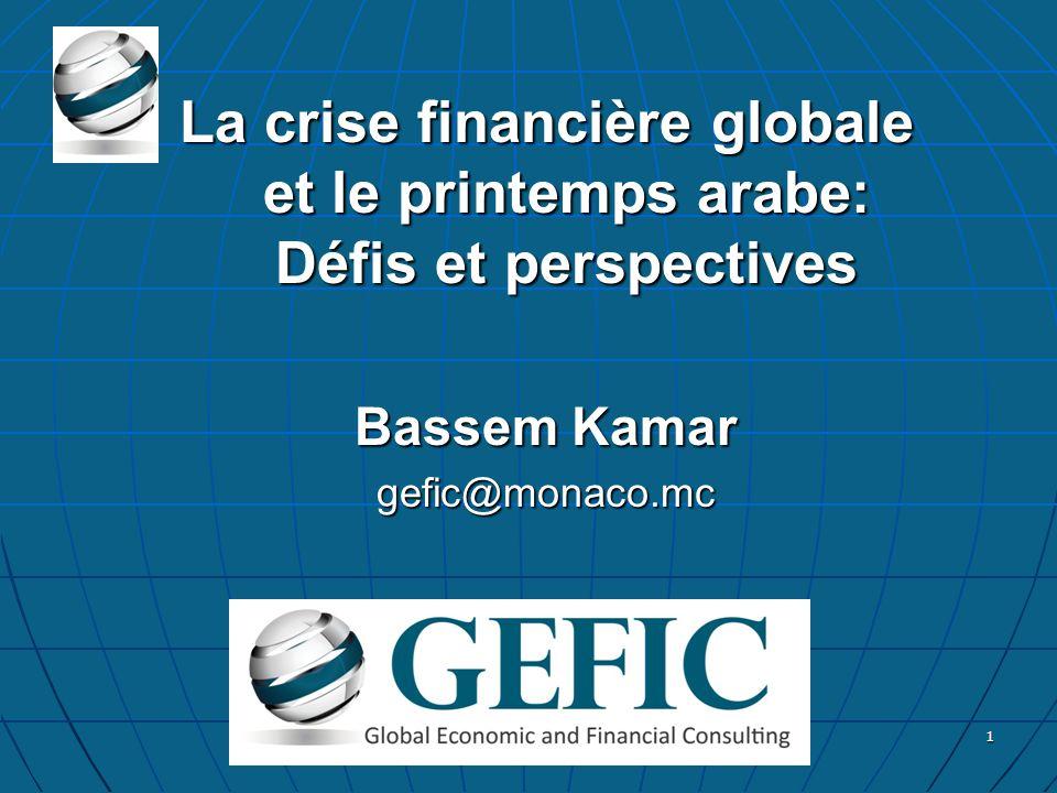 La crise financière globale et le printemps arabe: Défis et perspectives Bassem Kamar gefic@monaco.mc 1
