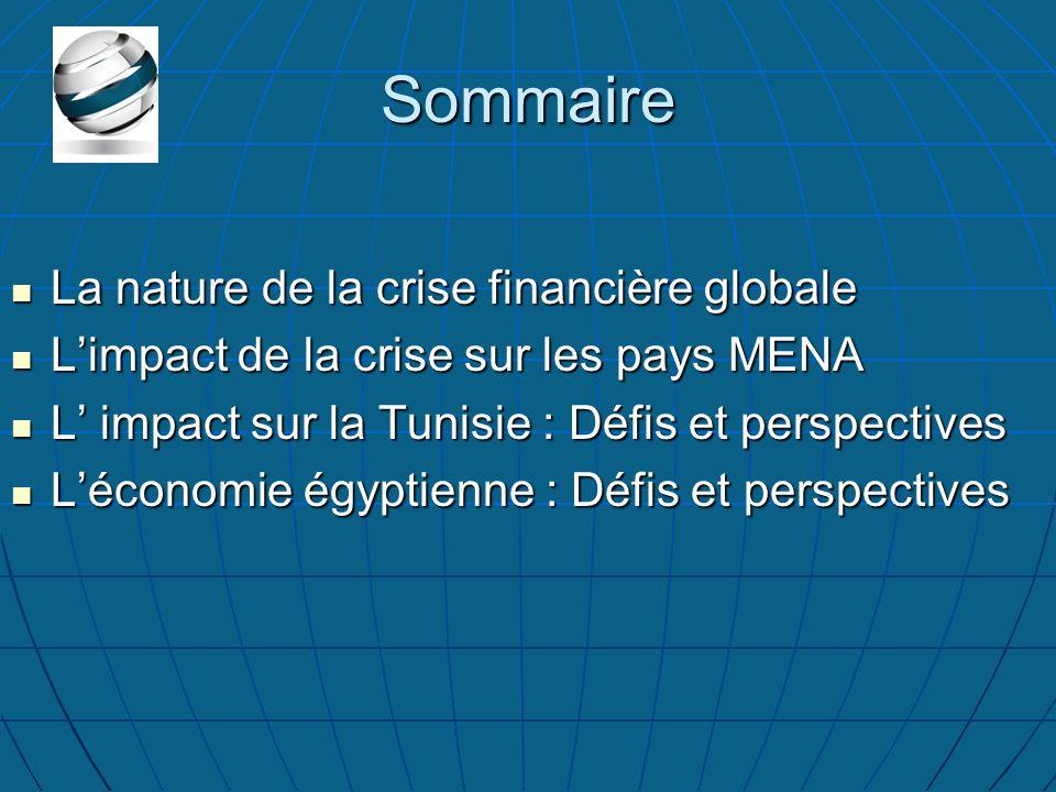 Sommaire La nature de la crise financière globale La nature de la crise financière globale L'impact de la crise sur les pays MENA L'impact de la crise sur les pays MENA L' impact sur la Tunisie : Défis et perspectives L' impact sur la Tunisie : Défis et perspectives L'économie égyptienne : Défis et perspectives L'économie égyptienne : Défis et perspectives