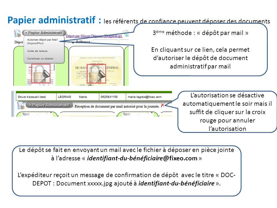 Papier administratif : les référents de confiance peuvent déposer des documents 3 ème méthode : « dépôt par mail » En cliquant sur ce lien, cela permet d'autoriser le dépôt de document administratif par mail L'autorisation se désactive automatiquement le soir mais il suffit de cliquer sur la croix rouge pour annuler l'autorisation Le dépôt se fait en envoyant un mail avec le fichier à déposer en pièce jointe à l'adresse « identifiant-du-bénéficiaire@fixeo.com » L'expéditeur reçoit un message de confirmation de dépôt avec le titre « DOC- DEPOT : Document xxxxx.jpg ajouté à identifiant-du-bénéficiaire ».