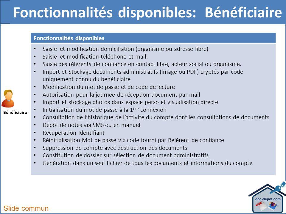 Fonctionnalités disponibles Saisie et modification domiciliation (organisme ou adresse libre) Saisie et modification téléphone et mail.