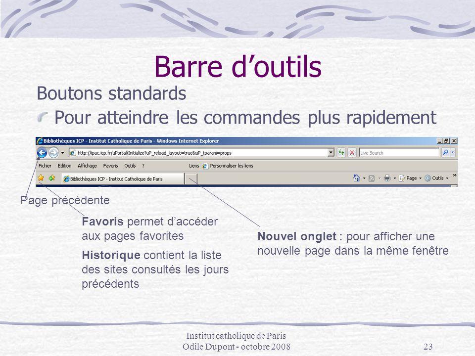 Institut catholique de Paris Odile Dupont - octobre 200823 Barre d'outils Boutons standards Pour atteindre les commandes plus rapidement Nouvel onglet