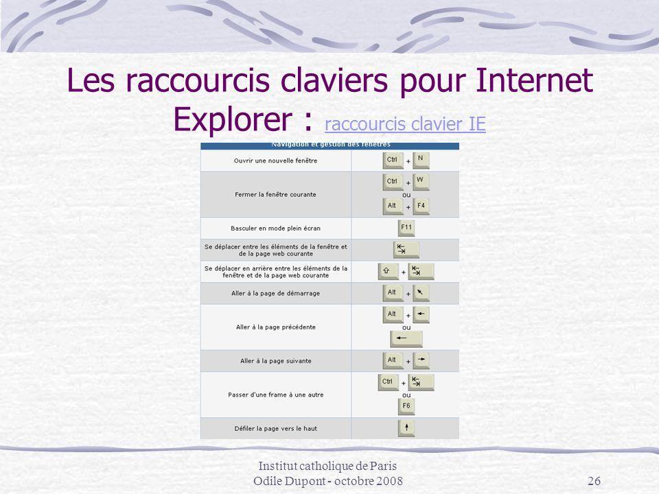 Institut catholique de Paris Odile Dupont - octobre 200826 Les raccourcis claviers pour Internet Explorer : raccourcis clavier IE raccourcis clavier I
