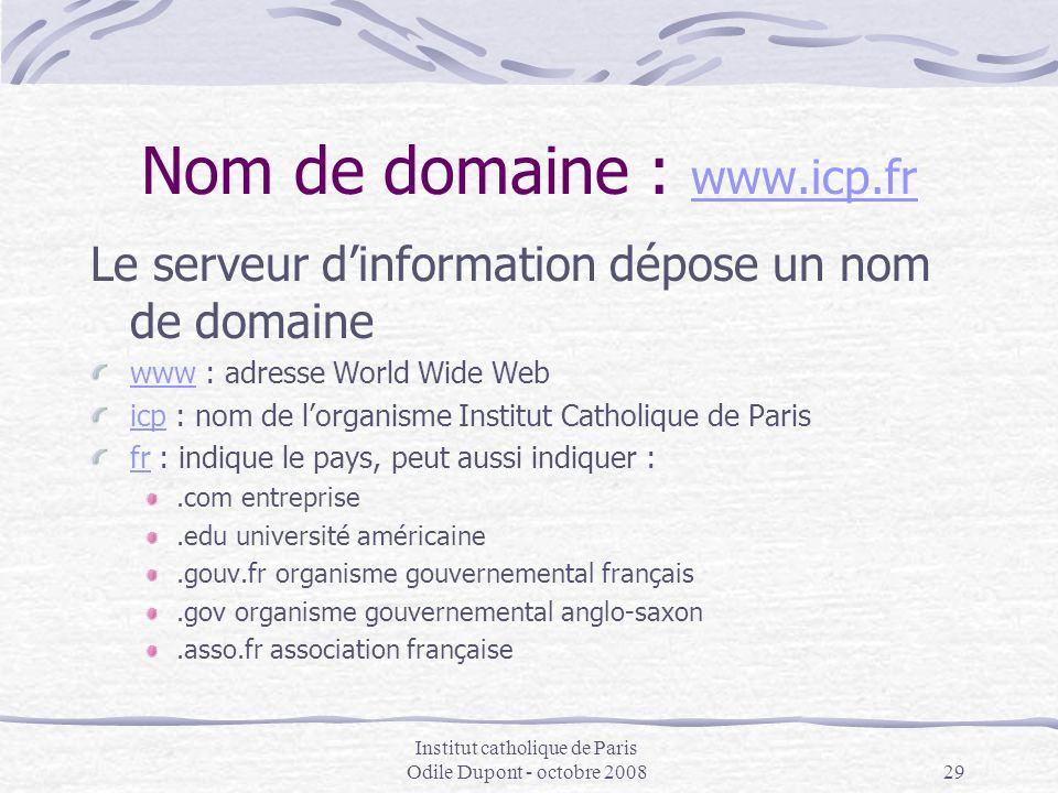 Institut catholique de Paris Odile Dupont - octobre 200829 Nom de domaine : www.icp.fr www.icp.fr Le serveur d'information dépose un nom de domaine ww