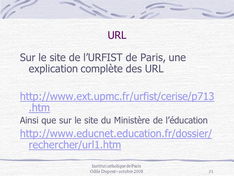 Institut catholique de Paris Odile Dupont - octobre 200831 URL Sur le site de l'URFIST de Paris, une explication complète des URL http://www.ext.upmc.