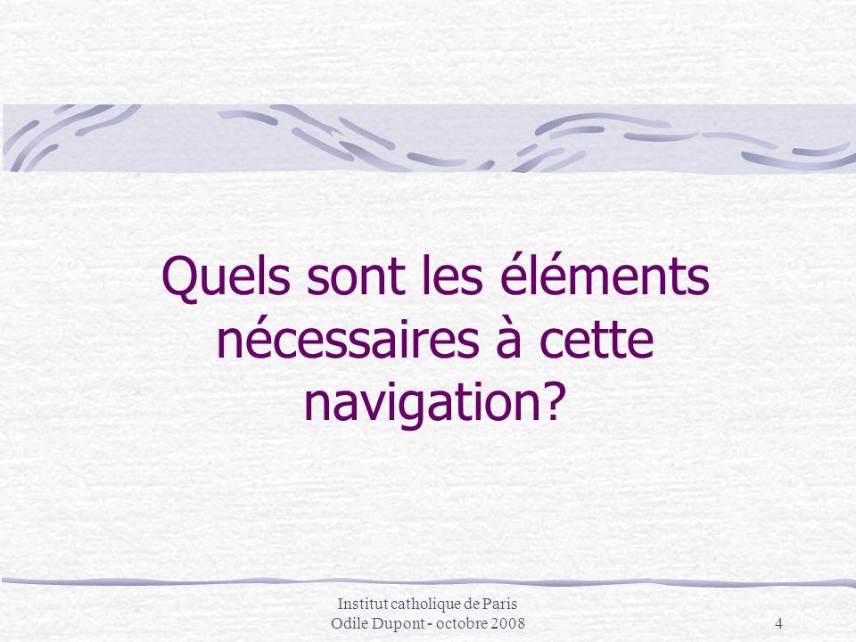 Institut catholique de Paris Odile Dupont - octobre 20084 Quels sont les éléments nécessaires à cette navigation?