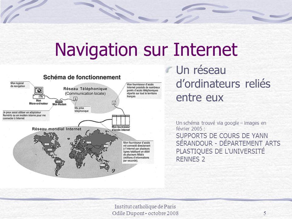 Institut catholique de Paris Odile Dupont - octobre 20085 Navigation sur Internet Un réseau d'ordinateurs reliés entre eux Un schéma trouvé via google