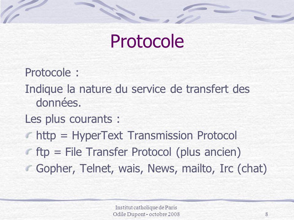Institut catholique de Paris Odile Dupont - octobre 20088 Protocole Protocole : Indique la nature du service de transfert des données. Les plus couran