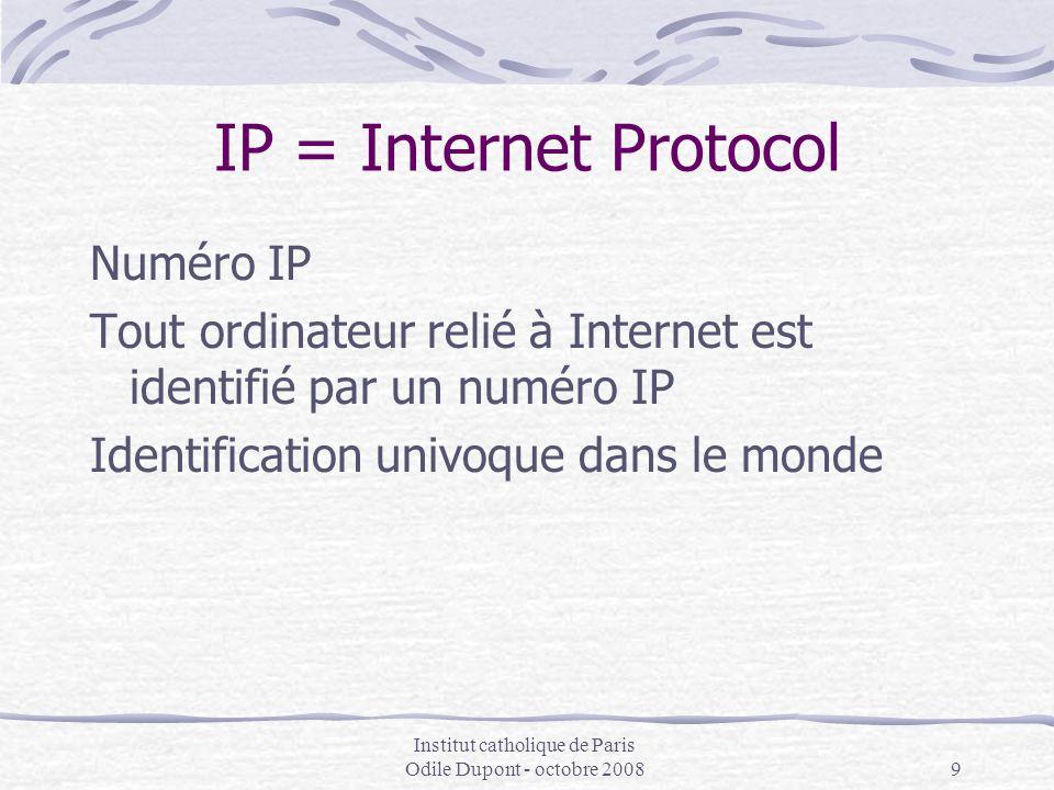 Institut catholique de Paris Odile Dupont - octobre 20089 IP = Internet Protocol Numéro IP Tout ordinateur relié à Internet est identifié par un numér