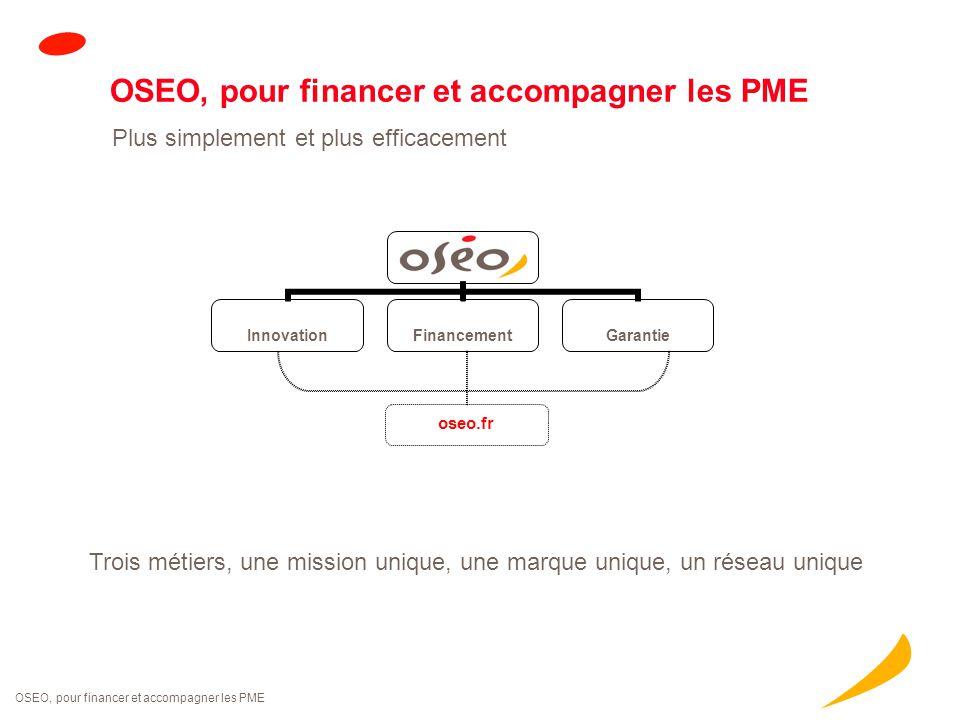 OSEO, pour financer et accompagner les PME Trois métiers, une mission unique, une marque unique, un réseau unique OSEO, pour financer et accompagner l