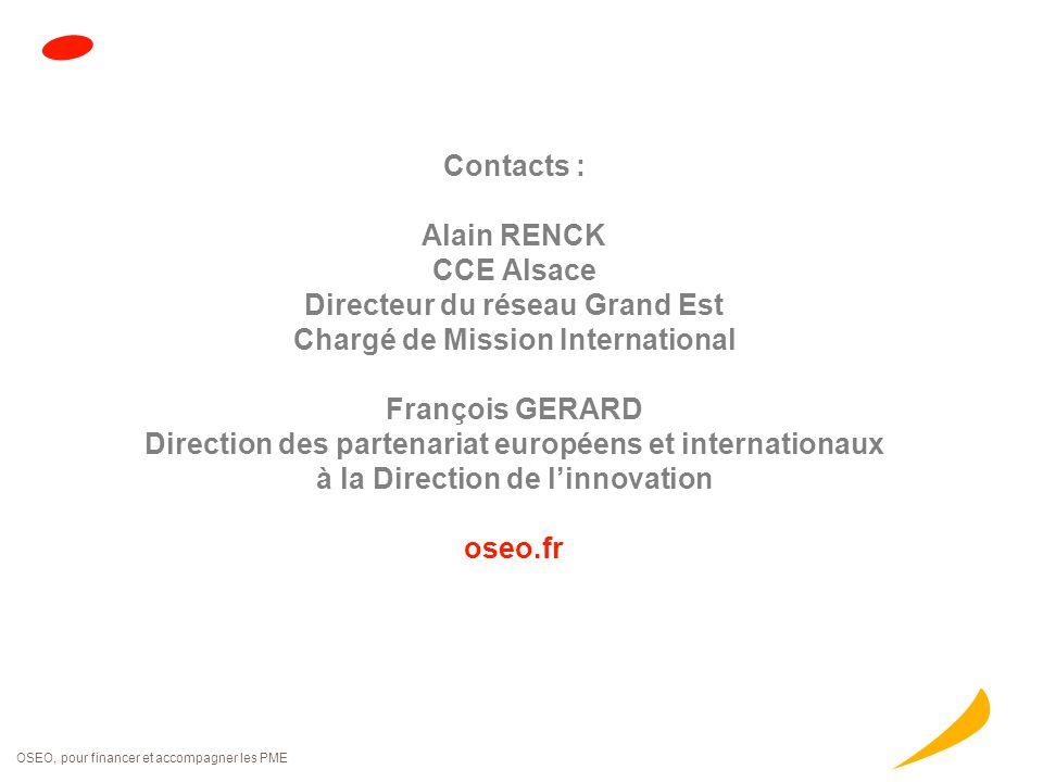 OSEO, pour financer et accompagner les PME Contacts : Alain RENCK CCE Alsace Directeur du réseau Grand Est Chargé de Mission International François GE