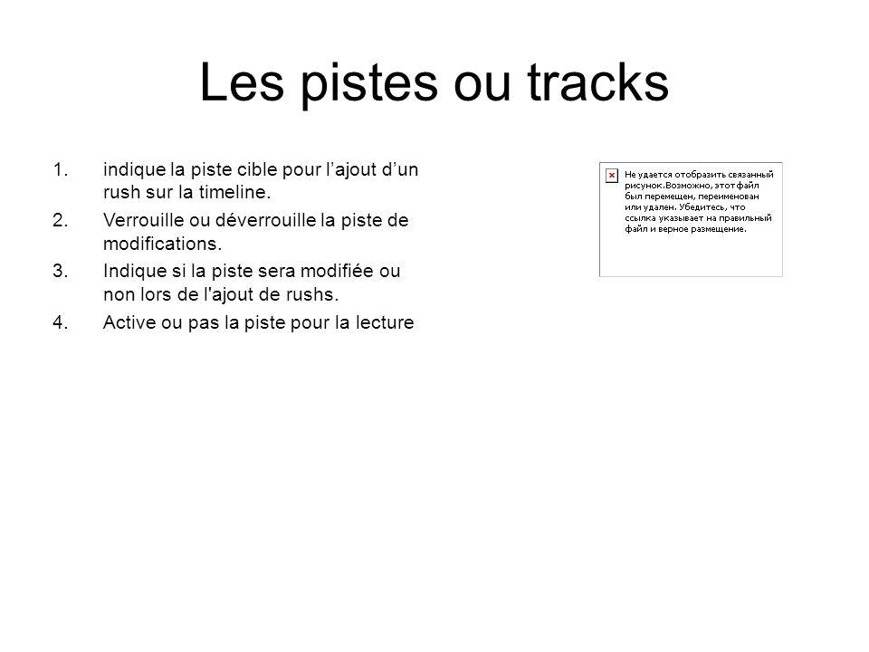 Les pistes ou tracks 1.indique la piste cible pour l'ajout d'un rush sur la timeline.