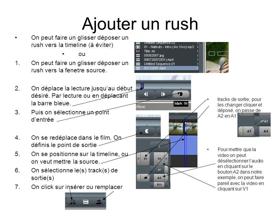 Ajouter un rush On peut faire un glisser déposer un rush vers la timeline (à éviter) ou 1.On peut faire un glisser déposer un rush vers la fenetre source.