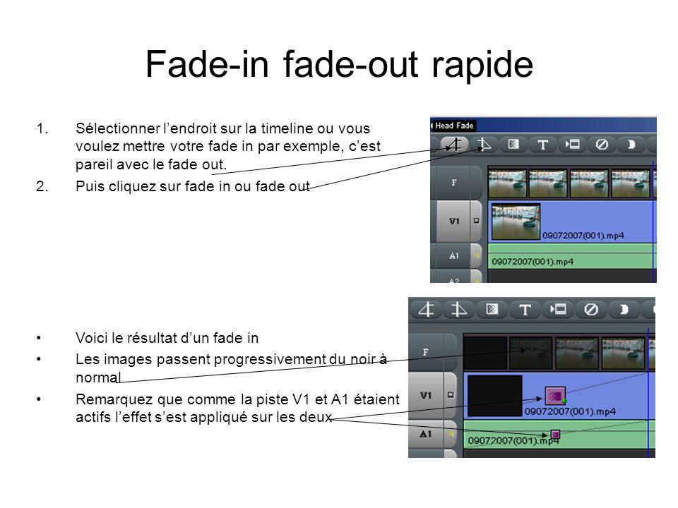 Fade-in fade-out rapide 1.Sélectionner l'endroit sur la timeline ou vous voulez mettre votre fade in par exemple, c'est pareil avec le fade out.