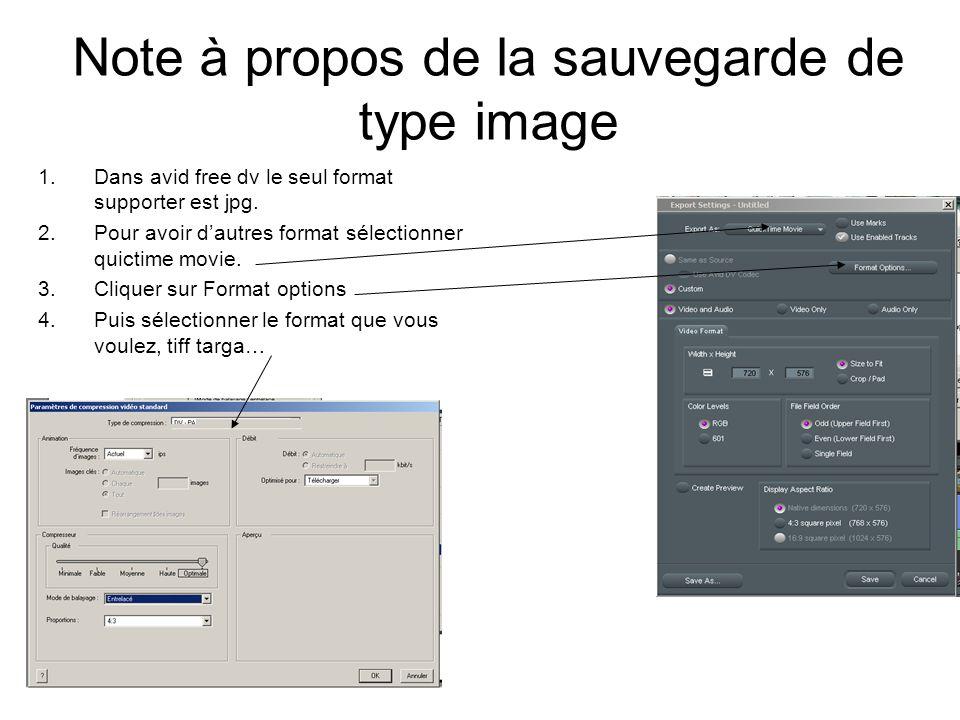 Note à propos de la sauvegarde de type image 1.Dans avid free dv le seul format supporter est jpg.