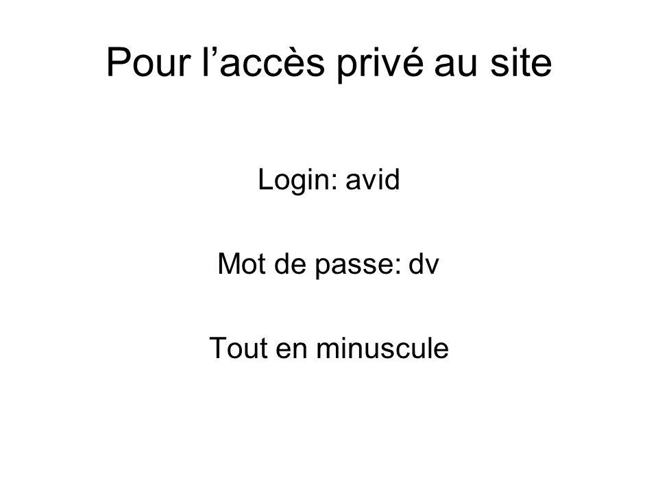 Pour l'accès privé au site Login: avid Mot de passe: dv Tout en minuscule