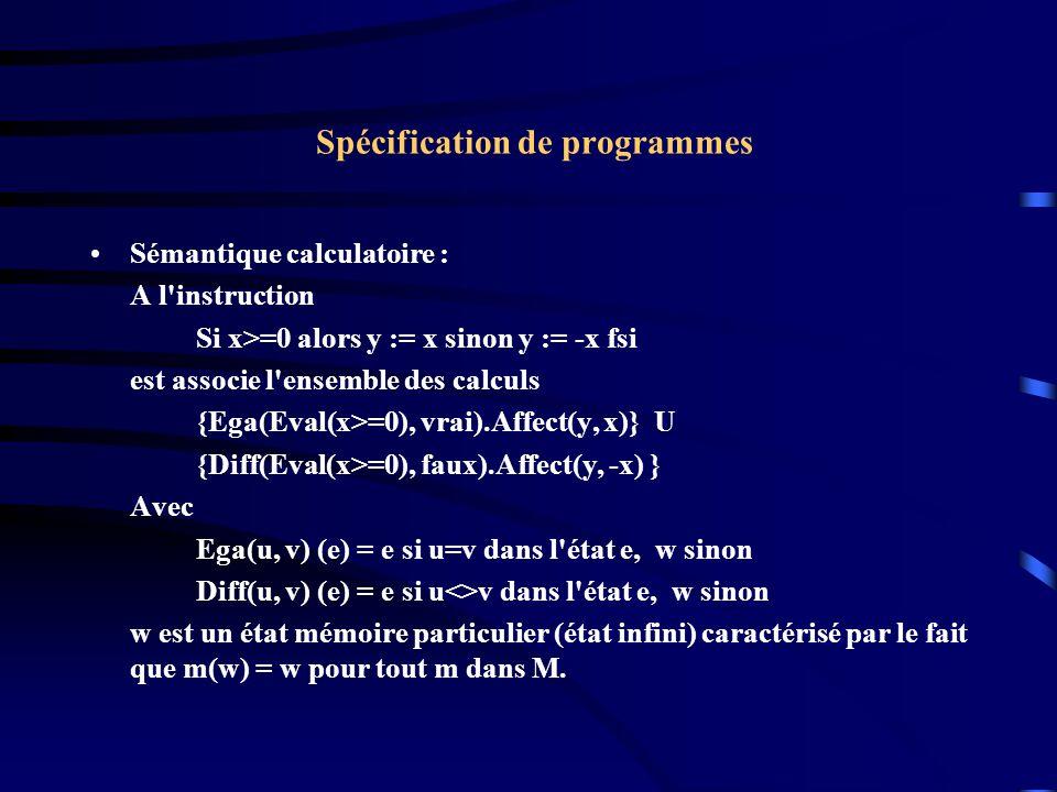 Spécification de programmes Sémantique calculatoire : A l instruction Si x>=0 alors y := x sinon y := -x fsi est associe l ensemble des calculs {Ega(Eval(x>=0), vrai).Affect(y, x)} U {Diff(Eval(x>=0), faux).Affect(y, -x) } Avec Ega(u, v) (e) = e si u=v dans l état e, w sinon Diff(u, v) (e) = e si u<>v dans l état e, w sinon w est un état mémoire particulier (état infini) caractérisé par le fait que m(w) = w pour tout m dans M.