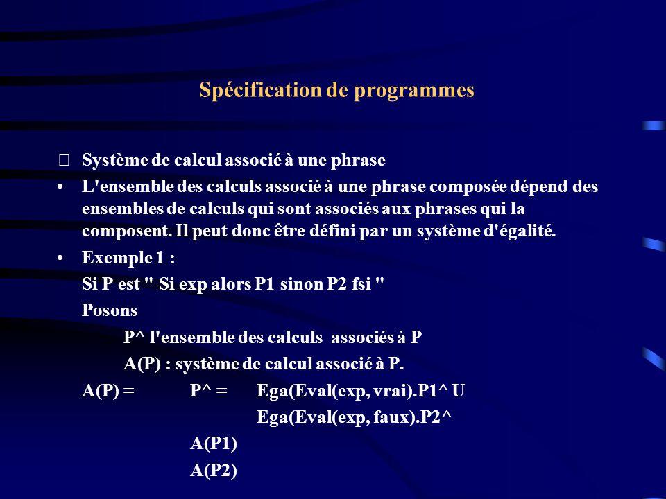 Spécification de programmes Système de calcul associé à une phrase L ensemble des calculs associé à une phrase composée dépend des ensembles de calculs qui sont associés aux phrases qui la composent.